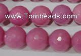 CTU2560 15.5 inches 14mm faceted round synthetic turquoise beads