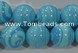 CTU2586 15.5 inches 16mm round synthetic turquoise beads