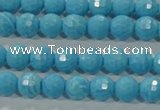 CTU2590 15.5 inches 4mm faceted round synthetic turquoise beads