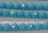 CTU2591 15.5 inches 6mm faceted round synthetic turquoise beads