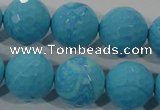 CTU2596 15.5 inches 16mm faceted round synthetic turquoise beads