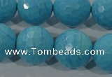 CTU2597 15.5 inches 18mm faceted round synthetic turquoise beads