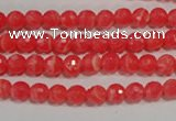 CTU2741 15.5 inches 6mm faceted round synthetic turquoise beads