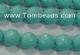 CTU2782 15.5 inches 8mm faceted round synthetic turquoise beads