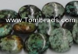 CTU416 15.5 inches 16mm flat round African turquoise beads wholesale