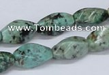 CTU441 15.5 inches 10*17mm twisted rice African turquoise beads wholesale