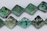 CTU446 15.5 inches 12*12mm diamond African turquoise beads wholesale