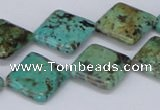 CTU448 15.5 inches 16*16mm diamond African turquoise beads wholesale