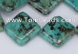 CTU449 15.5 inches 20*20mm diamond African turquoise beads wholesale