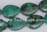 CTU453 15.5 inches 15*20mm flat teardrop African turquoise beads