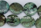 CTU458 15.5 inches 20mm flat round African turquoise beads wholesale