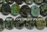 CTU499 15.5 inches 12*15mm oval double drilled African turquoise beads