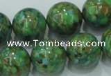 CTU609 15.5 inches 18mm round synthetic turquoise beads wholesale