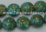 CTU614 15.5 inches 16mm flat round synthetic turquoise beads wholesale