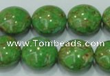 CTU617 15.5 inches 20mm flat round synthetic turquoise beads wholesale