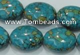 CTU621 15.5 inches 20*25mm oval synthetic turquoise beads wholesale