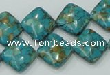 CTU629 15.5 inches 15*15mm diamond synthetic turquoise beads wholesale