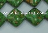 CTU630 15.5 inches 18*18mm diamond synthetic turquoise beads wholesale