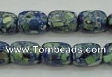 CTU651 15.5 inches 11*14mm drum synthetic turquoise beads wholesale