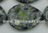 CTU658 15.5 inches 30*40mm flat teardrop  synthetic turquoise beads