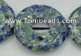 CTU664 15.5 inches 30mm donut synthetic turquoise beads wholesale