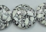 CTU673 15.5 inches 30mm flat round synthetic turquoise beads