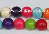 CTU704 15.5 inches 14mm round dyed turquoise beads wholesale