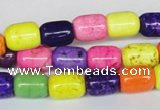 CTU709 15.5 inches 8*11mm column dyed turquoise beads wholesale