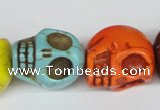 CTU713 15.5 inches 18*20*22mm skull dyed turquoise beads wholesale