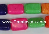 CTU719 15.5 inches 13*18mm rectangle dyed turquoise beads wholesale