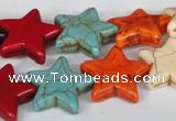 CTU727 15.5 inches 20*20mm star dyed turquoise beads wholesale