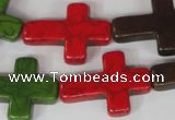 CTU733 15.5 inches 22*30mm cross dyed turquoise beads wholesale