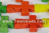 CTU735 15.5 inches 20*30mm cross dyed turquoise beads wholesale