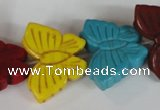CTU738 15.5 inches 20*27mm butterfly dyed turquoise beads wholesale