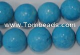 CTU855 15.5 inches 14mm round dyed turquoise beads wholesale