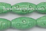 CTU888 15.5 inches 15*30mm carved rice dyed turquoise beads