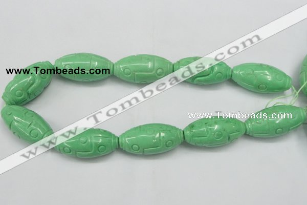 CTU889 15.5 inches 20*40mm carved rice dyed turquoise beads