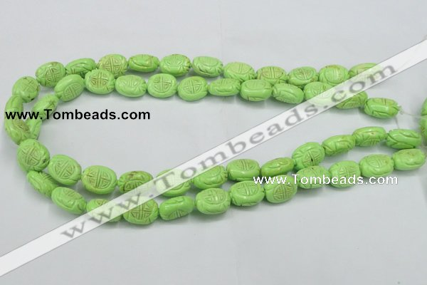 CTU895 15.5 inches 12*15mm carved oval dyed turquoise beads