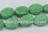 CTU896 15.5 inches 12*15mm carved oval dyed turquoise beads