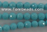 CTU912 15.5 inches 8mm faceted round synthetic turquoise beads