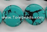 CTU946 15.5 inches 25mm flat round synthetic turquoise beads