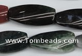 CTW105  15.5 inches 15*30mm twisted rectangle moss agate beads