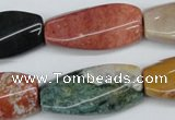 CTW113 15.5 inches 15*30mm twisted rectangle Indian agate beads