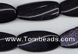 CTW118 15.5 inches 15*30mm twisted rectangle blue goldstone beads