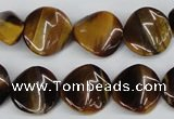 CTW14 15.5 inches 16mm twisted coin yellow tiger eye beads wholesale