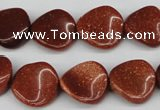 CTW22 15.5 inches 16mm twisted coin goldstone beads wholesale