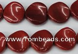 CTW32 15.5 inches 16mm twisted coin red jasper beads wholesale