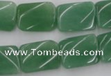 CTW373 15.5 inches 15*20mm twisted rectangle green aventurine beads