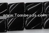 CTW377 15.5 inches 15*20mm twisted rectangle black agate beads