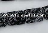 CTW379 15.5 inches 15*20mm twisted rectangle snowflake obsidian beads